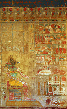 egypt anubis: ancient egypt color image of anubis on wall in luxor
