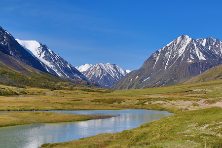 altay: mountain landscape with river in Altay, Russia