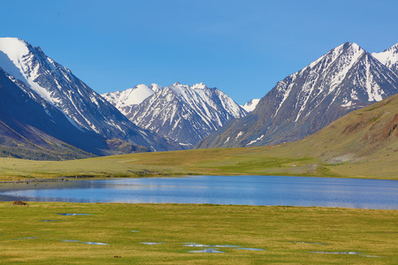 altay: mountain landscape with lake in Altay, Russia Stock Photo