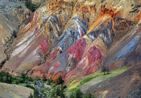 rock layers: Deposit of colorful clay in the Altai Mountains or Mars valley, Kizil-Chin