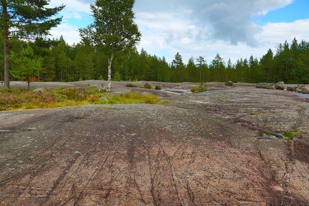mesolithic: Landscape of Zalavruga - Rock paintings petroglyphs in Karelia