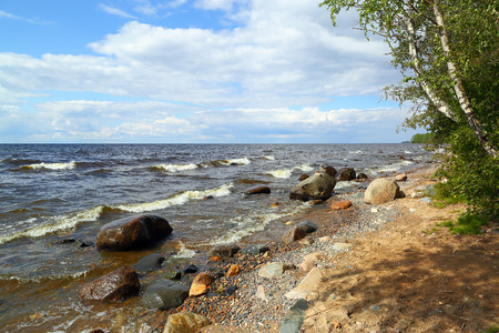 shore: Shore of Onega lake in Karelia, Russia