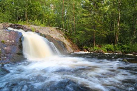 karelia: waterfall in forest - Karelia, Russia