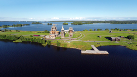 kizhi: Aerial view of Kizhi island with old russian wooden architecture in Karelia