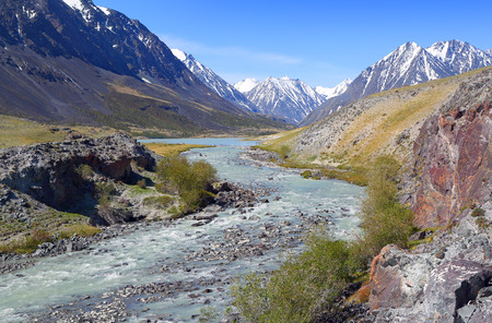 mountain landscape: mountain landscape with river in Altay, Russia