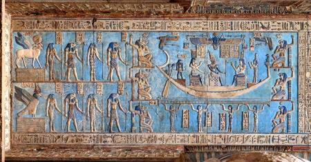 womanhood: Hieroglyphic carvings and paintings on the interior walls of an ancient egyptian temple in Dendera
