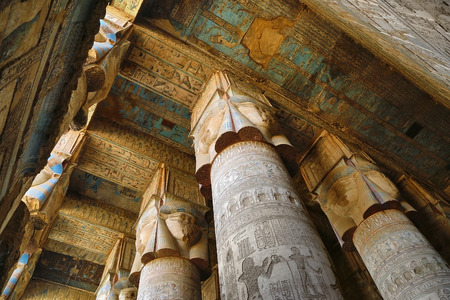 fertility goddess: Interior of the painted and carved hypostyle hall at Dendera Temple. Ancient Egyptian temple near Qena.
