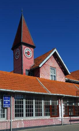 brick building: NUWARA ELIYA, SRI LANKA - MARCH 17, 2015: Exterior of the post office building in Nuwara Eliya, Sri Lanka.