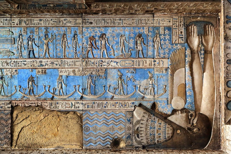 fertility goddess: Hieroglyphic carvings in ancient egyptian temple