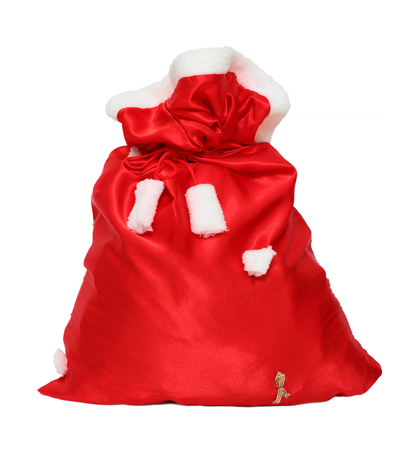 sack: christmas santa claus red bag isolated on white