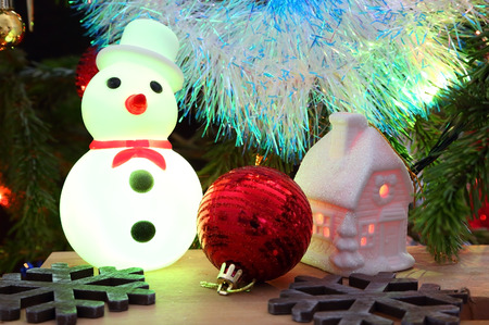 christmas house: Christmas decoration - house, snowflakes and snowman