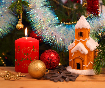 christmas candles: Christmas decoration - candle, house, snowflakes and balls