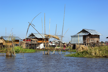 inle: Stilted houses in village on Inle lake, Myanmar (Burma)