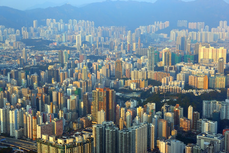 overpopulation: Cityscape of Hong Kong in sunset light