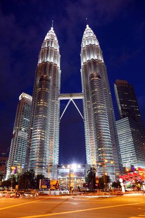 KUALA LUMPUR, MALAYSIA - JANUARY 31, 2016: Night view of the Petronas Twin Towers at Kuala Lumpur City Center. The most popular tourist destination in Malaysian capital