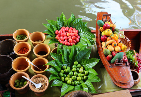 Cuisine on the boat - floating market in Bangkok, Thailand