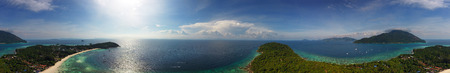sea view: Aerial panorama view on tropical Ko Lipe island in the Andaman Sea, Thailand