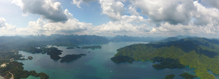 thani: Aerial panorama view of Cheow Lan Lake, Khao Sok National Park in southern Thailand