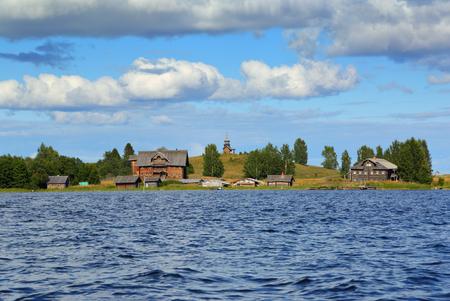 Old russian north wooden architecture on Kizhi island in Onega lake, Karelia Stock Photo