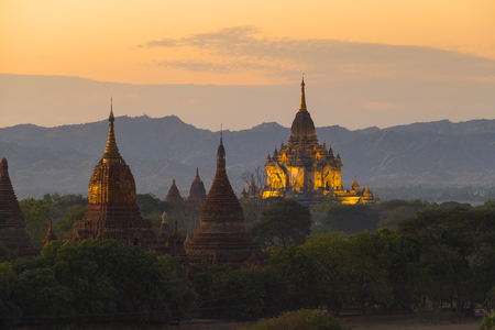 Landscape with illuminated Temples of Bagan in dusk after sunset, Myanmar (Burma) Stock Photo