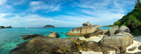 Panorama landscape with beach and rocks on Similan islands, Thailand
