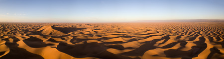 Beatiful aerial panorama landscape in Sahara desert at sunrise