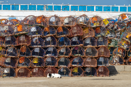 Stack of crab traps is Essaouira port, Morocco