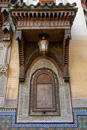 Traditional ornaments and window in Fes, Morocco Stock Photo