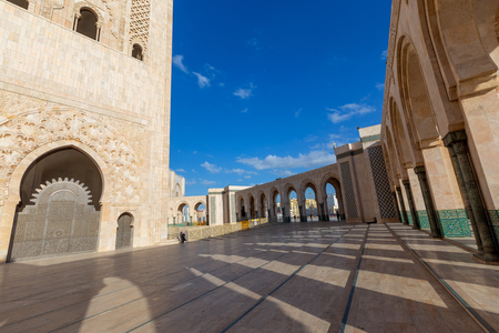 The courtyard arcs and columns of Hassan II Mosque in Casablanca Reklamní fotografie