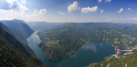 Aerial view on Drina river in Tara National Park near famous Banjska stena, Serbia, panorama