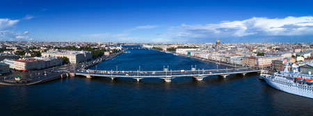 Aerial panorama view of Neva river in the city center of St. Petersburg,  Russia Stock Photo