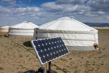 Mongolian tent ger and solar panel Stock fotó
