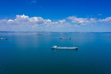 Cargo ships waiting for port entrance