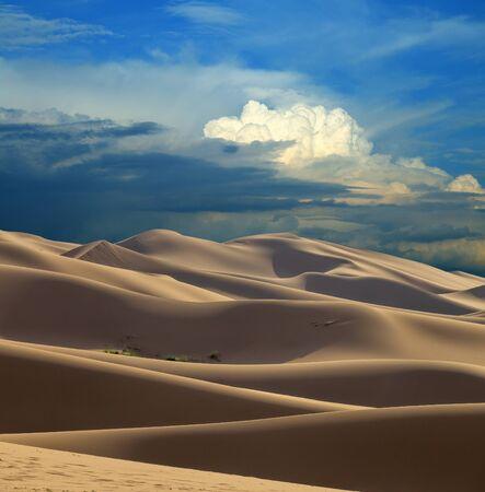 Landscape of the sand dunes in Gobi Desert at sunset, Mongolia