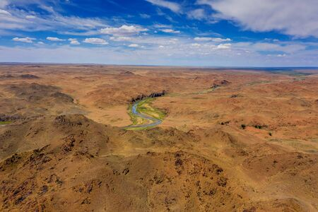 Aerial of river and mountains in Mongolia Stock Photo