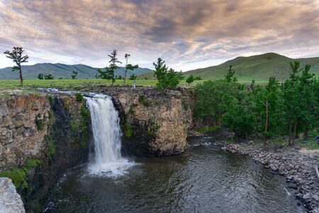 Orkhon waterfall in central Mongolia at sunrise, HDR image