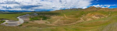 Aerial panorama view of steppe and mountains landscape in Orkhon valley, Mongolia