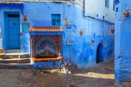 Public fountain of the Plaza El Hauta, square in medina of Chefchaouen, Morocco
