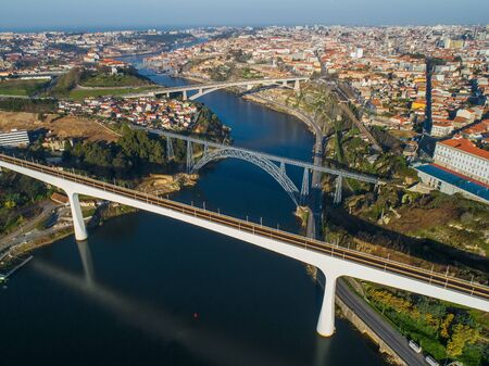 Aerial view on bridges and Douro river in Porto at morning, Portugal