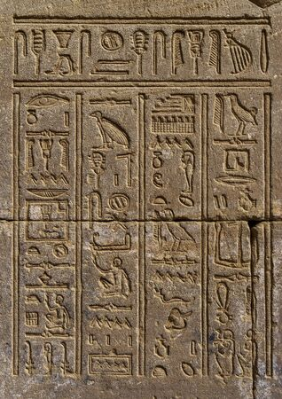 ancient egypt hieroglyphics on wall in temple