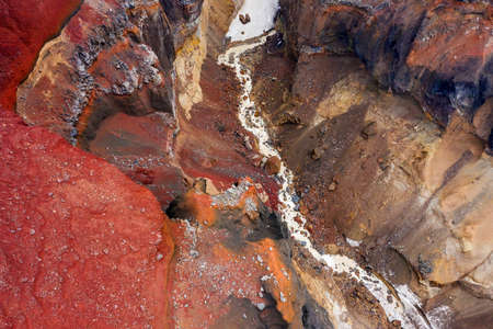 Aerial top view on colorful Dangerous Canyon (Opasniy Canyon) near the Mutnovsky volcano on the Kamchatka Peninsula, Russia Reklamní fotografie