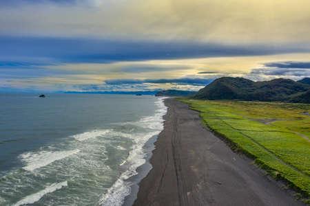 Khalaktyrsky beach with black sand on Kamchatka peninsula, Russia, Pacific ocean Reklamní fotografie