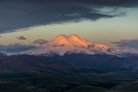 Beautiful view of Mount Elbrus at sunrise, North Caucasus mountains, Russia