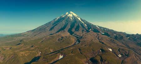 Aerial panorama of the Koryaksky volcano on Kamchatka peninsula, Russia