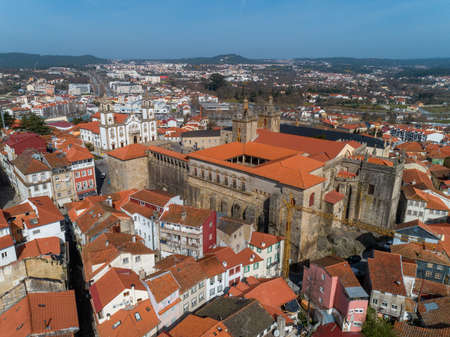 Aerial top view of old historic town Viseu with church and Cathedral, Portugal