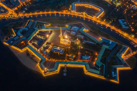 Aerial night view of Peter and Paul Fortress with cityscape, Saint-Petersburg, Russia Reklamní fotografie