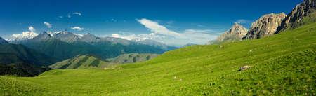 Beautiful summer aerial panorama landscape in Caucasus Mountains, Republic of Ingushetia, Russia
