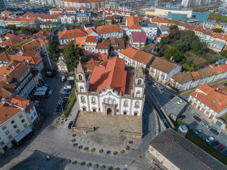 Aerial top view of old historic town Viseu with church, Portugal