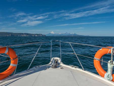 On boat near coast of Kamchatka Reklamní fotografie