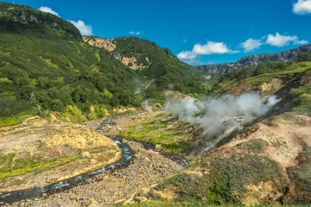 Hot springs and fumaroles in Valley of Geysers